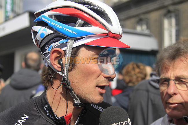 Frank Schleck (LUX) Radioshack-Nissan at sign on before the start of the 98th edition of Liege-Bastogne-Liege outside the Palais des Princes-Eveques, running 257.5km from Liege to Ans, Belgium. 22nd April 2012.  <br /> (Photo by Eoin Clarke/NEWSFILE).