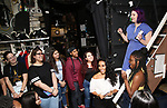 """Gabby Sorrentino and Holli Campbell with students during the Q & A before The Rockefeller Foundation and The Gilder Lehrman Institute of American History sponsored High School student #EduHam matinee performance of """"Hamilton"""" at the Richard Rodgers Theatre on 5/22/2019 in New York City."""
