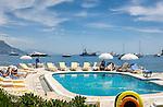 France, Provence-Alpes-Côte d'Azur, peninsula Cap Ferrat between Villefranche-sur-Mer and Beaulieu-sur-Mer, Saint-Jean-Cap-Ferrat: Pool of 4-Stars-Hotel La Voile D'or   Frankreich, Provence-Alpes-Côte d'Azur, Halbinsel Cap Ferrat zwischen Villefranche-sur-Mer und Beaulieu-sur-Mer, Saint-Jean-Cap-Ferrat: Pool des 4-Sterne-Hotels La Voile D'or