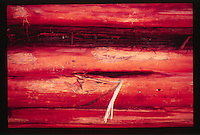 Bleached Driftwood Made Red by Sun's Last Rays, Dungeness Natiional Wildlife Refuge, Olympic Peninsula, Washington, US