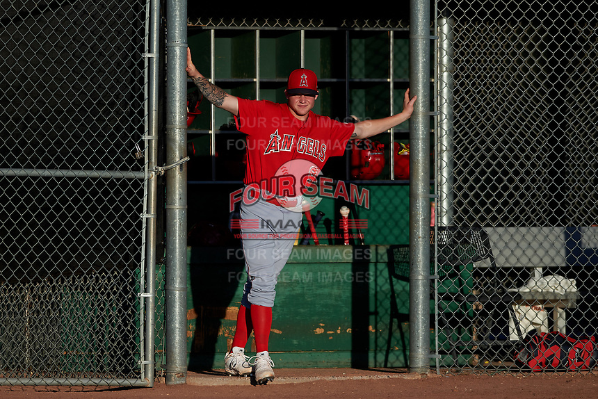 AZL Angels Spencer Brown (9) during an Arizona League game against the AZL Giants Black at the Giants Baseball Complex on June 21, 2019 in Scottsdale, Arizona. AZL Angels defeated AZL Giants Black 6-3. (Zachary Lucy/Four Seam Images)