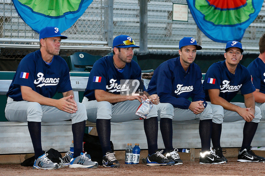 20 September 2012: Owen Ozanich, Pierrick Le Mestre, Quentin Pourcel and Thomas Langloys are seen prior to Spain 8-0 win over France, at the 2012 World Baseball Classic Qualifier round, in Jupiter, Florida, USA.