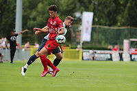 Bastien Focant (15) of Tempo and Ylyes Ziani (24) of Union battle for the ball during a preseason friendly soccer game between Tempo Overijse and Royale Union Saint-Gilloise, Saturday 29th of June 2021 in Overijse, Belgium. Photo: SPORTPIX.BE   SEVIL OKTEM