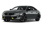 Stock pictures of low aggressive front three quarter view of 2021 Peugeot 508-PSE PSE-PHEV 5 Door Hatchback Low Aggressive