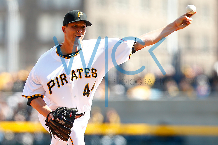 Tony Watson #44 of the Pittsburgh Pirates pitches against the St. Louis Cardinals during the Opening Day game at PNC Park in Pittsburgh, Pennsylvania on April 3, 2016. (Photo by Jared Wickerham / DKPS)