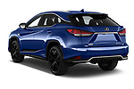 Car pictures of rear three quarter view of 2021 Lexus RX 450h-F-SPORT 5 Door SUV Angular Rear