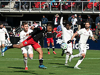 WASHINGTON, DC - FEBRUARY 29: Edison Flores #10 of DC United heads down the ball during a game between Colorado Rapids and D.C. United at Audi Field on February 29, 2020 in Washington, DC.