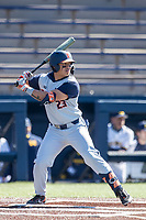Illinois Fighting Illini shortstop Brandon Comia (23) at bat during the NCAA baseball game against the Michigan Wolverines on March 20, 2021 at Fisher Stadium in Ann Arbor, Michigan. Michigan won the game 8-1. (Andrew Woolley/Four Seam Images)