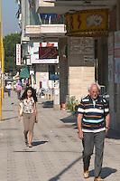 Street scene with people walking on the street. Tirana capital. Albania, Balkan, Europe.