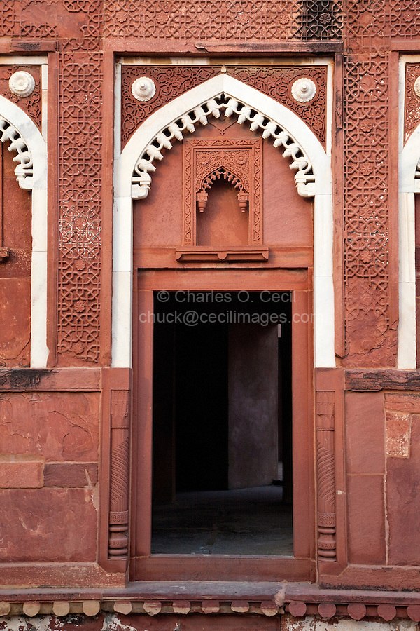 Agra, India.  Agra Fort, Jahangiri Mahal.  Fusion of Indian and Islamic Styles in Arches.