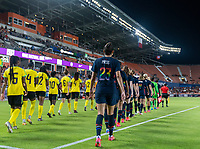 HOUSTON, TX - JUNE 13: Christen Press #23 of the USWNT walks onto the field before a game between Jamaica and USWNT at BBVA Stadium on June 13, 2021 in Houston, Texas.
