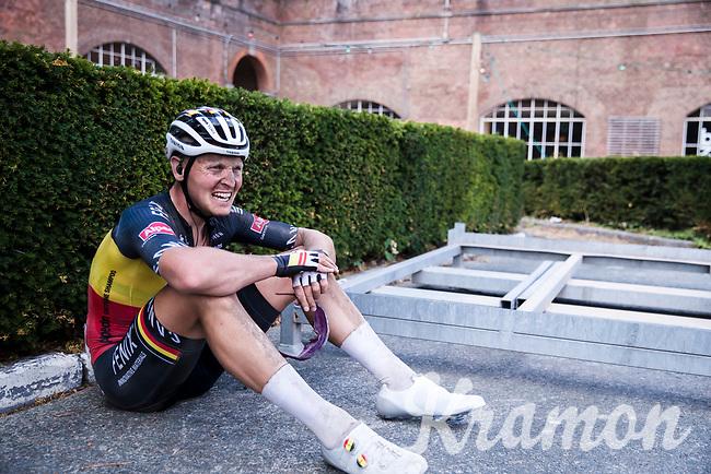 Belgian National Champion Tim Merlier (BEL/Alpecin-Fenix) post race exhausted<br /> <br /> <br /> Dwars Door Het Hageland 2020<br /> One Day Race: Aarschot – Diest 180km (UCI 1.1)<br /> Bingoal Cycling Cup 2020