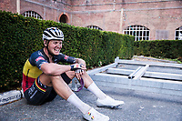 Belgian National Champion Tim Merlier (BEL/Alpecin-Fenix) post race exhausted<br /> <br /> <br /> Dwars Door Het Hageland 2020<br /> One Day Race: Aarschot – Diest 180km (UCI 1.1)<br /> Bingoal Cycling Cup 2020