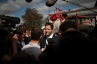 Nick Clegg, the Liberal Democrat party leader, fields questions from the media during a visit to an agricultural college in Chippenham, Wiltshire...