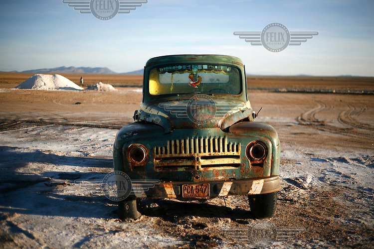 An old rusted car in the village of Colchani, on Salar de Uyuni, the biggest salt lake in the world.