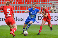 Heleen Jaques (4) of AA Gent and Noemie Gelders (10) of Standard pictured during a female soccer game between Standard Femina de Liege and AA Gent Ladies on the 6th matchday in play off 1 of the 2020 - 2021 season of Belgian Scooore Womens Super League , tuesday 11 th of May 2021  in Liege , Belgium . PHOTO SPORTPIX.BE   SPP   STIJN AUDOOREN