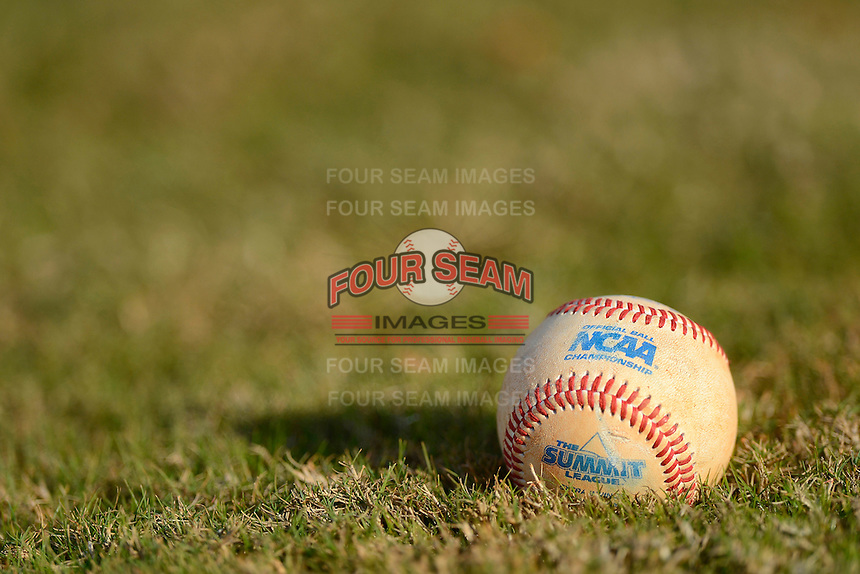 South Dakota State Jackrabbits game ball sits on the grass after a game against the Ohio State Buckeyes at North Charlotte Regional Park on February 23, 2013 in Port Charlotte, Florida.  Ohio State defeated South Dakota State 5-2.  (Mike Janes/Four Seam Images)