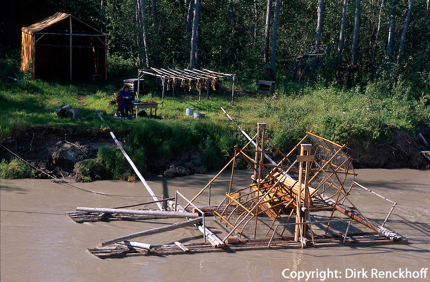 USA, Alaska, Lachsmühle am Tanana-River