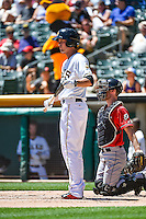 Grant Green (7) of the Salt Lake Bees at bat against the El Paso Chihuahuas in Pacific Coast League action at Smith's Ballpark on July 26, 2015 in Salt Lake City, Utah. El Paso defeated Salt Lake 6-3 in 10 innings. (Stephen Smith/Four Seam Images)