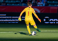 CARSON, CA - FEBRUARY 07: Stephanie Labbe #1 of Canada passes the ball during a game between Canada and Costa Rica at Dignity Health Sports Park on February 07, 2020 in Carson, California.