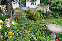 Birdbath in lovely flower and shrub garden with picket fence, lawn grass, lilies, daylilies, black eyed susans
