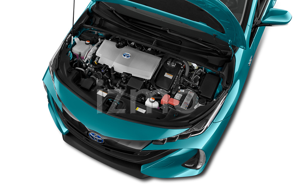 Car Stock 2019 Toyota Prius-Plug-in-Hybride Comfort 5 Door Hatchback Engine  high angle detail view