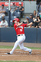 Sean Hurley (15) of the Vancouver Canadians bats during a game against the Eugene Emeralds at Nat Bailey Stadium on July 22, 2015 in Vancouver, British Columbia. Vancouver defeated Eugene, 4-2. (Larry Goren/Four Seam Images)