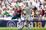 Theo Bernard Francois Hernandez Pi of Real Madrid (R) fights for the ball with Ivan Lopez Mendoza of Levante UD (L) during the La Liga match between Real Madrid and Levante UD at the Estadio Santiago Bernabeu on 09 September 2017 in Madrid, Spain. Photo by Diego Gonzalez / Power Sport Images