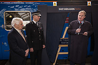 Pictured speaking is Jake Kelly with Councillor Brian Grocott Chair of the Fire Authority (left) and Paul Crowther Chief Constable British Transport Police (centre)