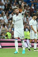 Real Madrid's Sergio Ramos during the XXXVII Bernabeu trophy between Real Madrid and Stade de Reims at the Santiago Bernabeu Stadium. August 15, 2016. (ALTERPHOTOS/Rodrigo Jimenez) /NORTEPHOTO