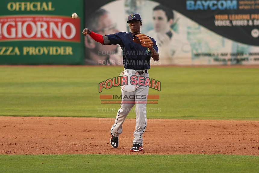 Cedar Rapids Kernels shortstop Nick Gordon (5) throws to first base during a game against the Wisconsin Timber Rattlers on May 4th, 2015 at Fox Cities Stadium in Appleton, Wisconsin.  Cedar Rapids defeated Wisconsin 9-3.  (Brad Krause/Four Seam Images)