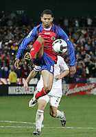 Alvaro Saborio #9 of Costa Rica leaps high for the ball during a 2010 World Cup qualifying match in the CONCACAF region against the USA at RFK Stadium on October 14 2009, in Washington D.C.The match ended in a 2-2 tie.