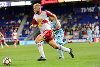 Harrison, NJ - Thursday Sept. 15, 2016: Danny Torres Angel, Mike Grella during a CONCACAF Champions League match between the New York Red Bulls and Alianza FC at Red Bull Arena.