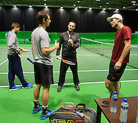 11-02-14, Netherlands,Rotterdam,Ahoy, ABNAMROWTT,Tomas Berdych training with Andy Murray<br /> Photo:Tennisimages/Henk Koster