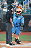 Aberdeen IronBirds mascot Ripcord looks at umpire Willie Traynor prior to the game against the Hudson Valley Renegades at Leidos Field at Ripken Stadium on July 23, 2021, in Aberdeen, MD. (Brian Westerholt/Four Seam Images)