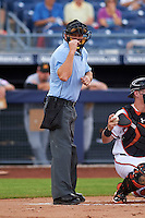 Umpire Ben May makes a call during an Arizona Fall League game between the Mesa Solar Sox and Peoria Javelinas on October 21, 2015 at Peoria Stadium in Peoria, Arizona.  Peoria defeated Mesa 5-3.  (Mike Janes/Four Seam Images)