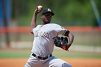 GCL Marlins starting pitcher George Soriano (30) delivers a pitch during a game against the GCL Mets on August 3, 2018 at St. Lucie Sports Complex in Port St. Lucie, Florida.  GCL Mets defeated GCL Marlins 3-2.  (Mike Janes/Four Seam Images)