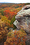 Shawnee National Forest, IL<br /> Dramatic sandstone formations above the autumn forest canopy- Garden of the Gods Recreation Area
