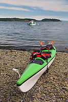 Green Kayak and Caretaker Boat, Yellow Island, San Juan Islands, Washington, US