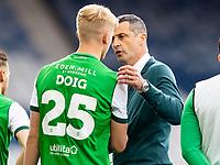 22nd May 2021; Hampden Park, Glasgow, Scotland; Scottish Cup Football Final, St Johnstone versus Hibernian; Jack Ross Hibernian Manager consoles Josh Doig of Hibernian at full time after their 1-0 loss