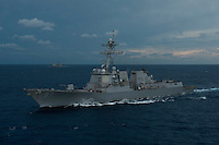 120414-N-DR144-091 BAY OF BENGAL (April 14, 2012) The Arleigh Burke-class guided missile destroyer USS Halsey (DDG 97) joins Nimitz-class aircraft carrier USS Carl Vinson (CVN 70) and Ticonderoga-class guided missile cruiser USS Bunker Hill (CG 52) as they steam in formation with Indian Navy ships during Exercise Malabar 2012. Vinson, Bunker Hill, and Halsey comprise Carrier Strike Group (CSG) 1, and are participating in the annual bi-lateral naval field training exercise with the Indian Navy to advance multinational maritime relationships and mutual security issues.  (U.S. Navy photo by Mass Communication Specialist 2nd Class James R. Evans/Released).