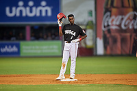 Chattanooga Lookouts second baseman Nick Gordon (1) on second base during a game against the Jackson Generals on May 9, 2018 at AT&T Field in Chattanooga, Tennessee.  Chattanooga defeated Jackson 4-2.  (Mike Janes/Four Seam Images)