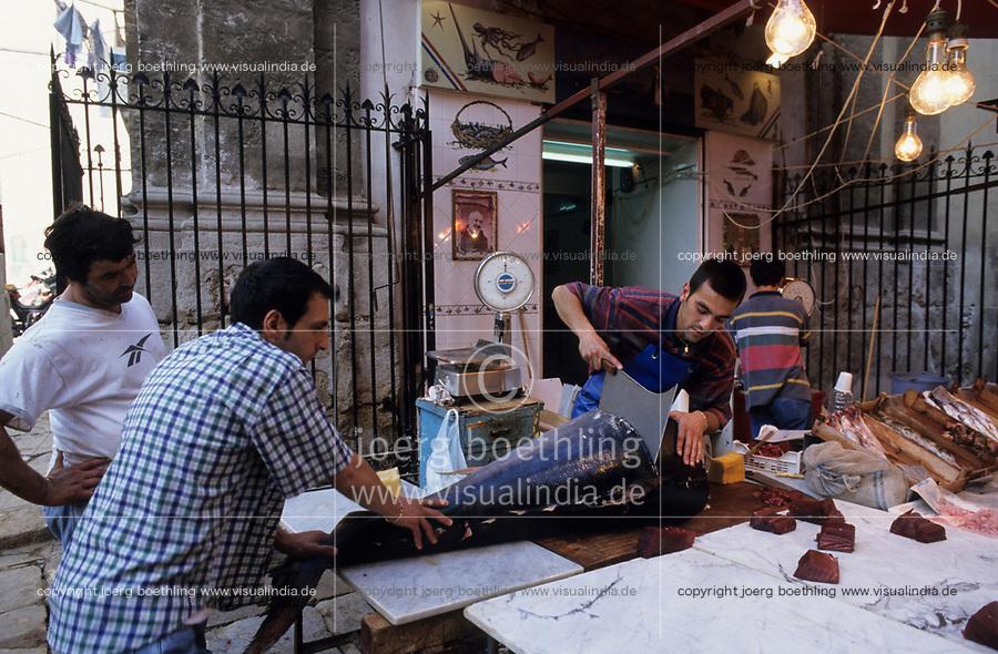 ITALY, Sicily, Palermo, fish market, selling of fresh Tuna fish and sword fish