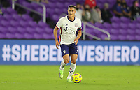 ORLANDO CITY, FL - JANUARY 31: Aaron Long #3 of the United States looks for an open man downfield during a game between Trinidad and Tobago and USMNT at Exploria stadium on January 31, 2021 in Orlando City, Florida.