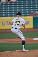 Salt Lake Bees starting pitcher Matt Ball (29) throws to the plate against the New Orleans Baby Cakes at Smith's Ballpark on August 4, 2019 in Salt Lake City, Utah. The Baby Cakes defeated the Bees 8-2. (Stephen Smith/Four Seam Images)