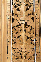 Bali, Indonesia.  Wood Carving.  Floral Design in Decorative Panel.