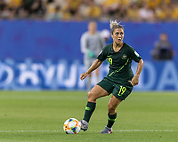 GRENOBLE, FRANCE - JUNE 18: Katrina Gorry #19 of the Australian National Team looks to pass during a game between Jamaica and Australia at Stade des Alpes on June 18, 2019 in Grenoble, France.