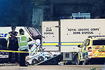 © Joel Goodman - 07973 332324 . 23/05/2017. Manchester, UK. The Royal Logistic Corps Bomb Disposal team deploy a bomb disposal robot outside the Manchester Arena . Police and other emergency services are seen near the Manchester Arena after reports of an explosion. Police have confirmed they are responding to an incident during an Ariana Grande concert at the venue. Photo credit : Joel Goodman