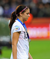 Alex Morgan of team USA reacts during the FIFA Women's World Cup Final USA against Japan at the FIFA Stadium in Frankfurt, Germany on July 17th, 2011.