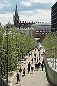 About 40% of the newly re-developed 67-acre London King's Cross site is deemed public space, although the entire site is privately owned and managed.